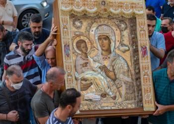 Λιτάνευση ιεράς εικόνας Παναγίας Τριχερούσης και δέηση ενώπιoν αυτής υπέρ κατασβέσεως των πυρκαγιών